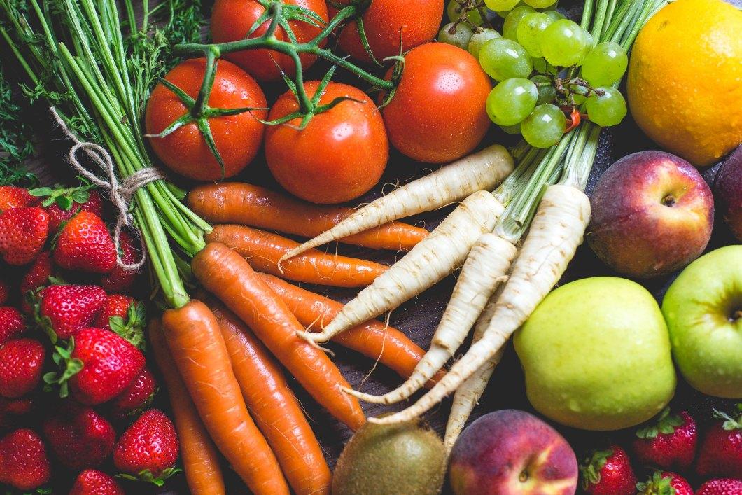Imagen gratis de frutas y verduras vistas desde arriba