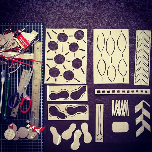 Handcrafted stencils and masks from recycled box. My fingers are sore, but I am happy.