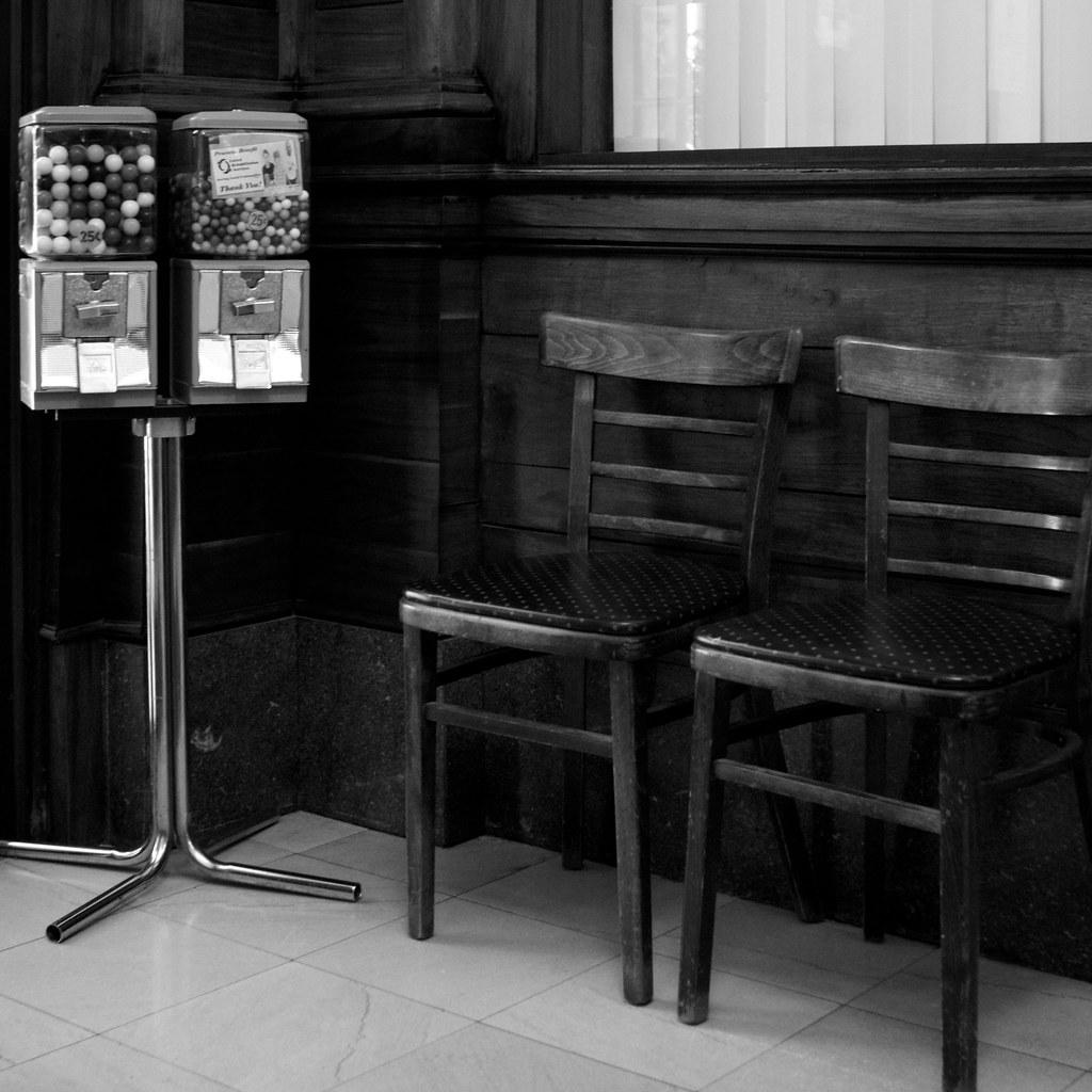 Gum Ball Machine and chairs
