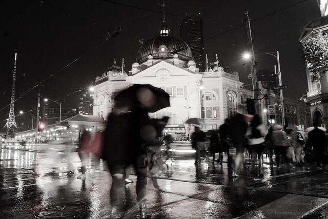 Flinders Street in the rain