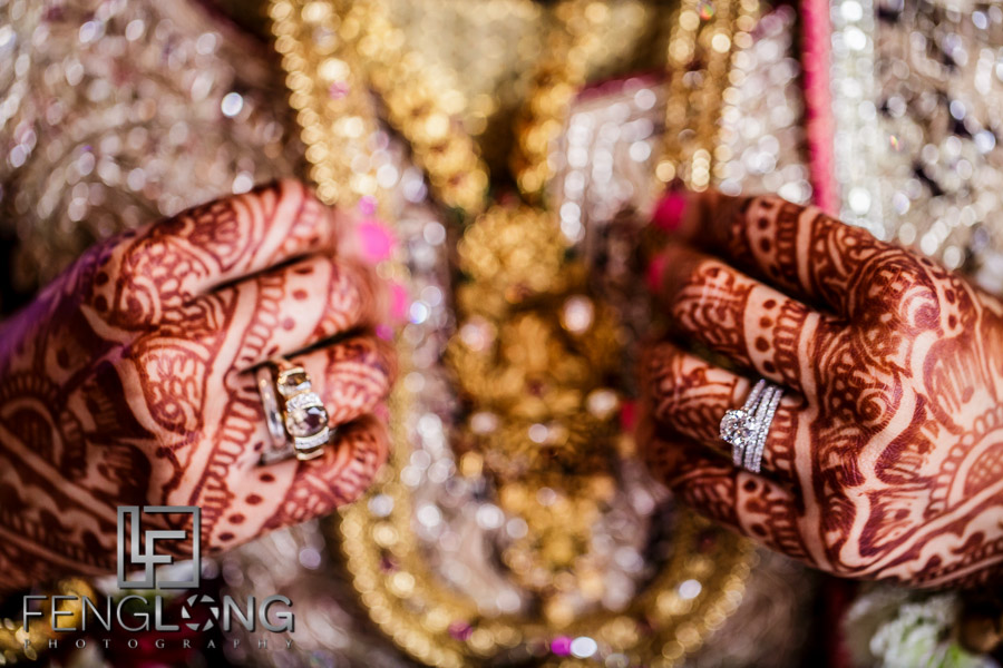 Close up of Indian bride's rings on her wedding day