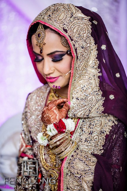 Artistic photo of Indian bride on her Nikkah wedding ceremony day
