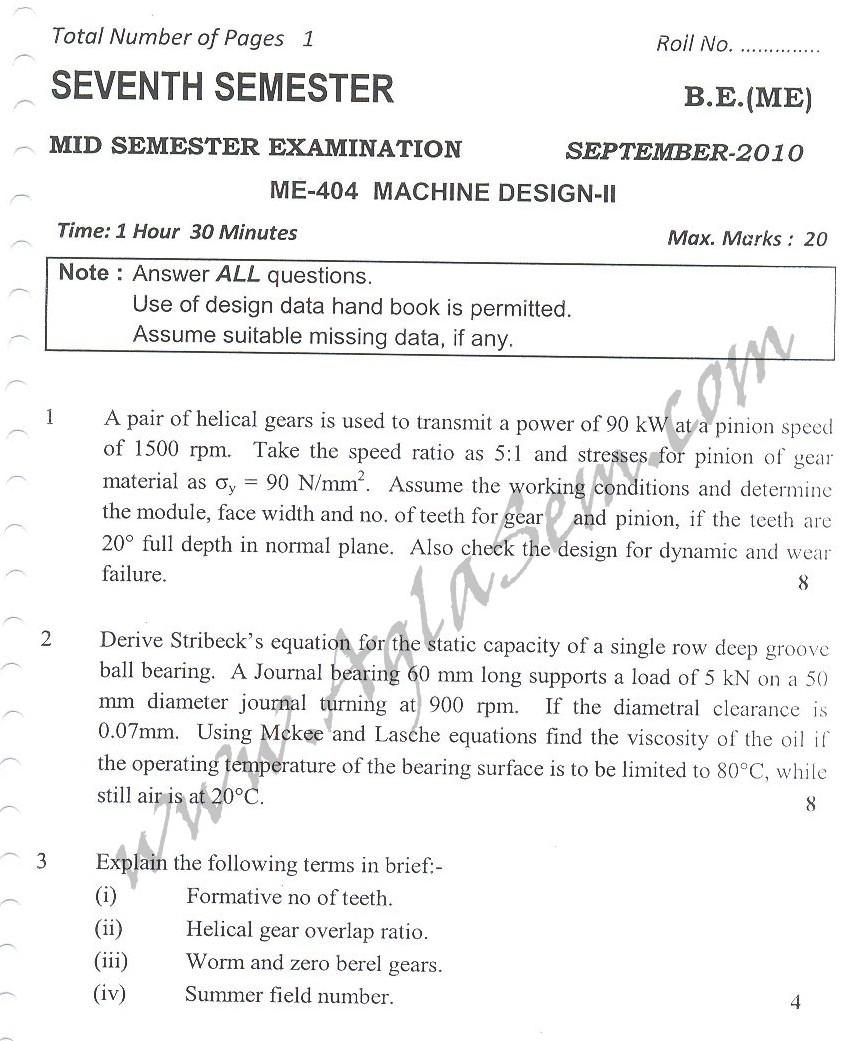DTU Question Papers 2010 – 7 Semester - Mid Sem - ME-404