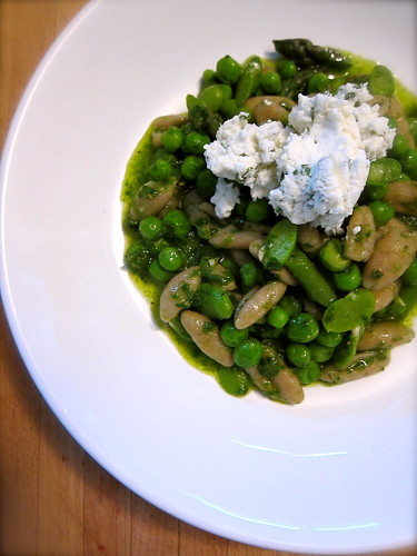 Pasta with Spring Greens and Fresh Cheese