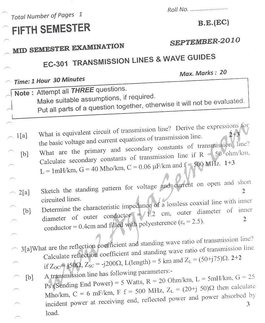 DTU Question Papers 2010 – 5 Semester - Mid Sem - EC-301