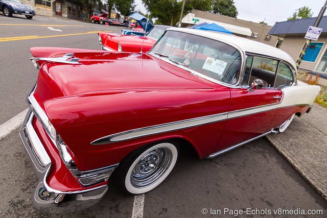 Red & White 1956 Chevy Side Angle