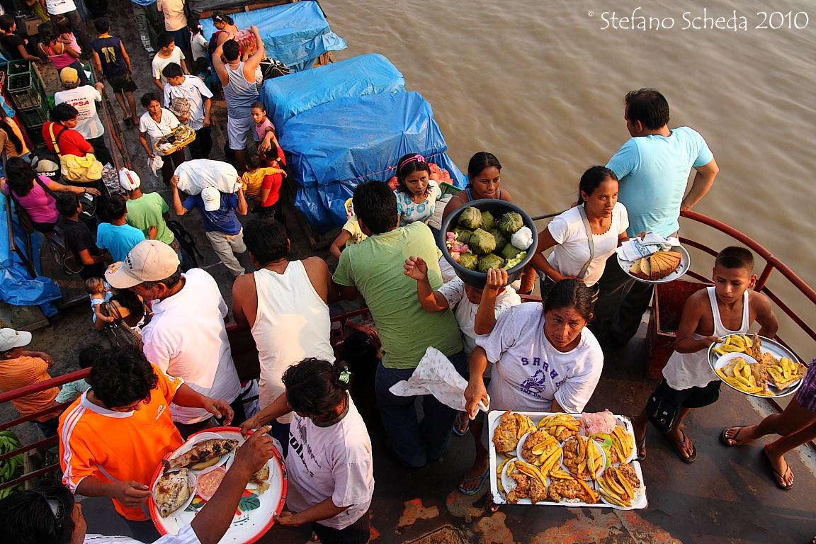 Food sales on amazonian boat - Peru