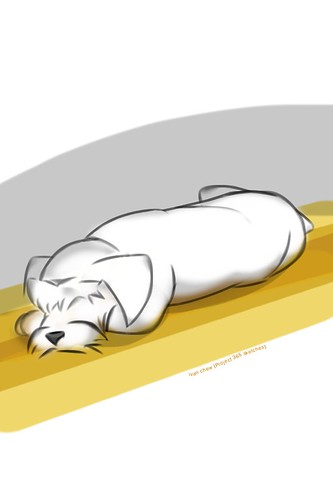 """Snoozy Dog"" (#124: Project 365 Sketches)"