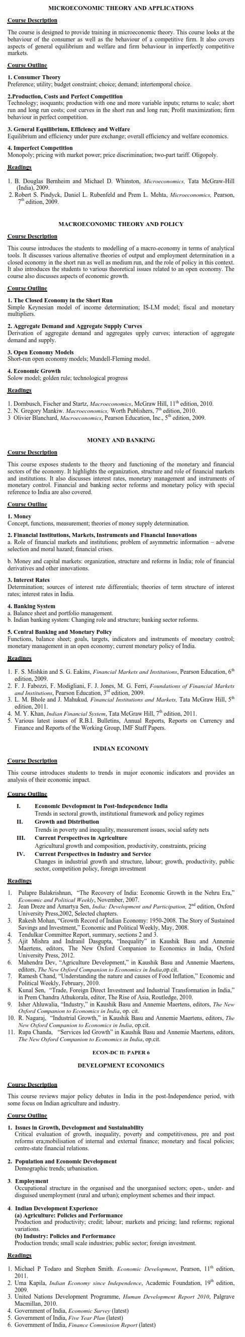 DU DC I, DC II and Applied Course Syllabus - Economics