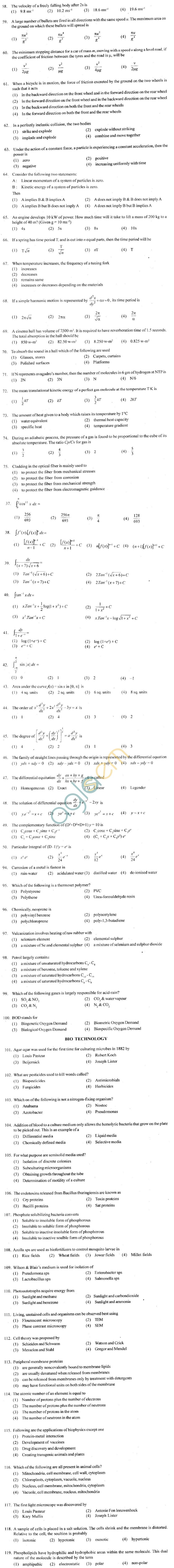 ECET 2012 Question Paper with Answers - Biotechnology