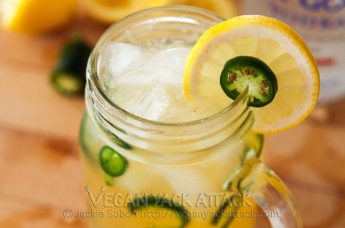 Spicy Vodka Lemonade with fresh ingredients + jalapeños!