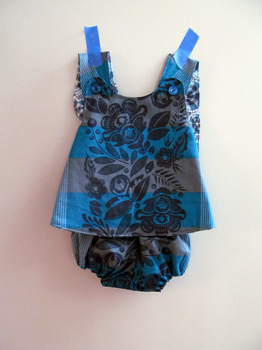 blue baby pinafore & bloomers