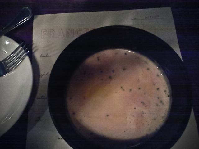 soup of summer corn, creme fraiche