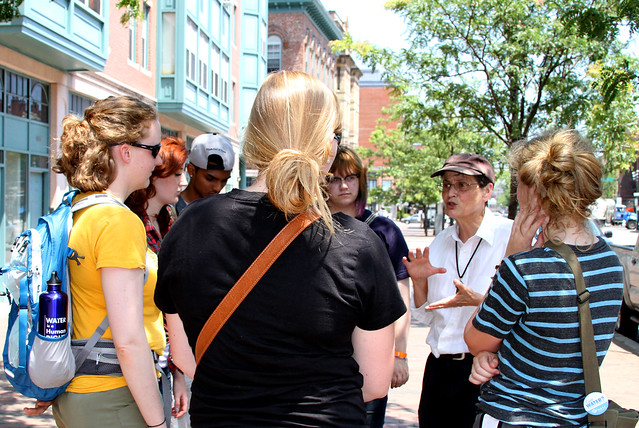 Youth group on a walking tour of the South End and Dudley Square neighborhoods during the National Youth Justice Summit