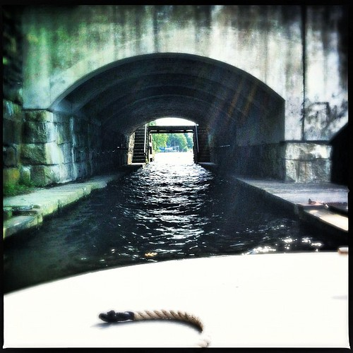 Heading under the School Street Bridge...