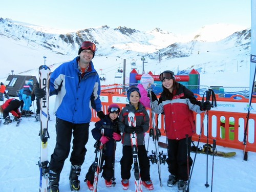 Family Skiing at Mount Remarkable in New Zealand