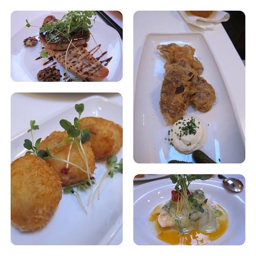 Foie gras, ox tongue fritters, braised cod cheeks + croquettas