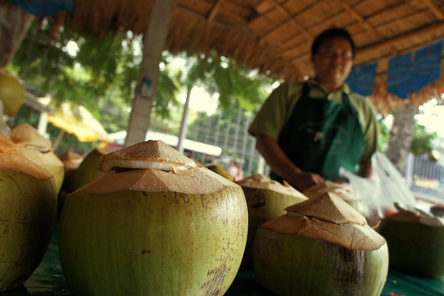 Sweet, fresh coconut juice at the markets – the best!