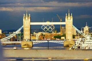 Olympic rings on London Bridge