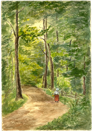 'Eglon, West Virginia, July 1901' watercolor painting by Mary (Forrer) Peirce