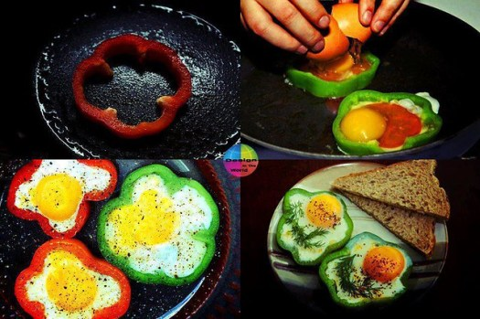 Cooking egg using pepper slice