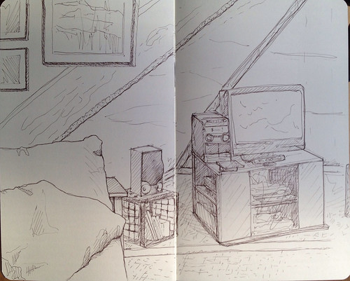The tv space in our walk-up attic
