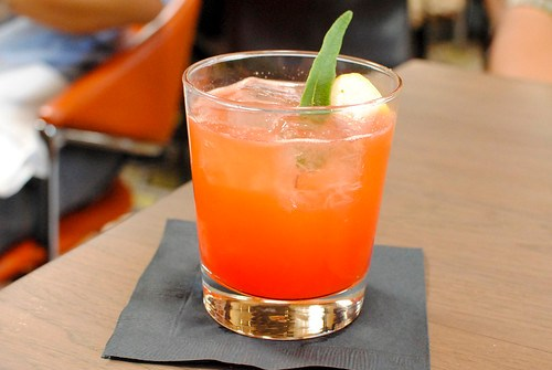 A Beer & A Ball Campari, Aperol, Grapefruit, Sage, Lime, Hops Infused Champagne