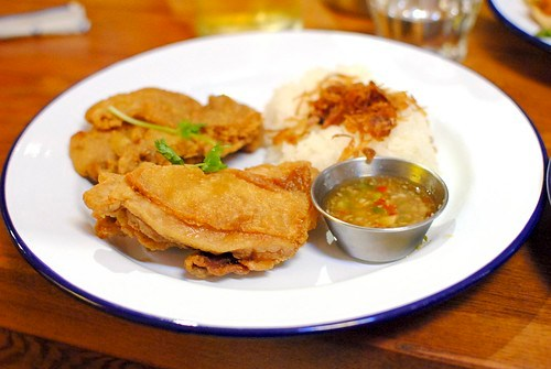gai tod mae chan | mae chan fried chicken upcountry fried chicken thighs / sticky rice / fried shallots