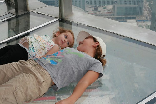 Chatting on the glass floor of the Oriental Pearl TV Tower