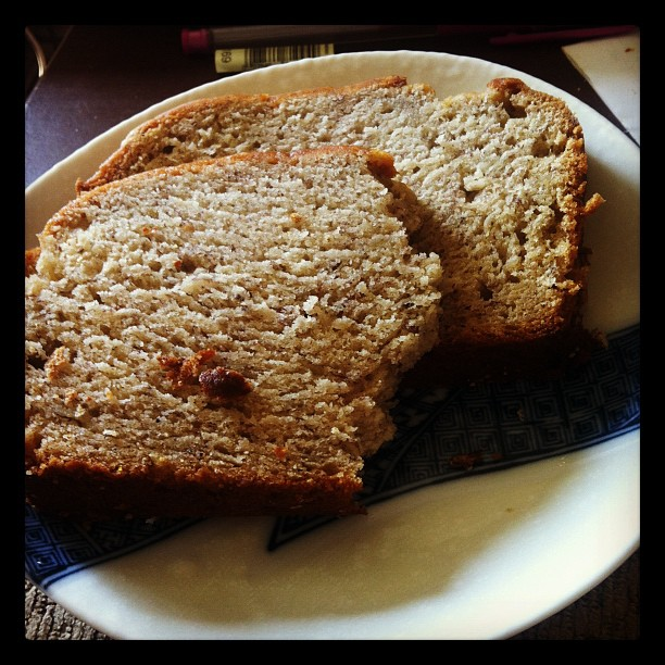 I made banana bread yesterday. I think I may eat the whole loaf by the end of the day.