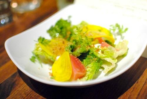 gem lettuce, pickled beets, bread crumbs, green garlic crème fraiche
