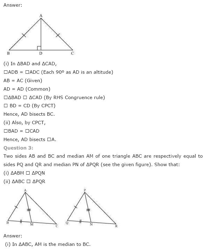 NCERT Solutions For Class 9th Maths Solutions Chapter 7 Triangles PDF Download 2018-19