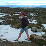 Jenn in the snow on Beartooth Highway