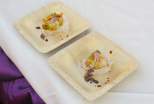 Roy Yamaguchi (Roy's) chicken, jade pesto, cherry blossom rice