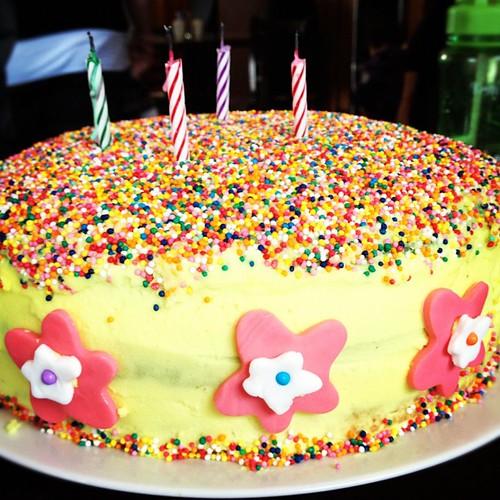 Purple ombre sprinkle cake