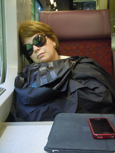 snoozing on the train