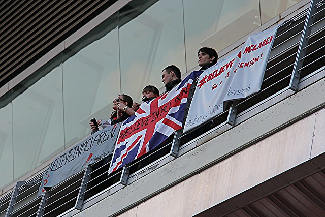 Plenty of British fans to be seen at the Formula One Winter Testing, Circuit de Catalunya, March 2012