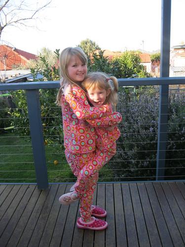 pyjama top - Oliver + s hopscotch knit top; pyjama pants - Ottobre 6/2009 patt.35