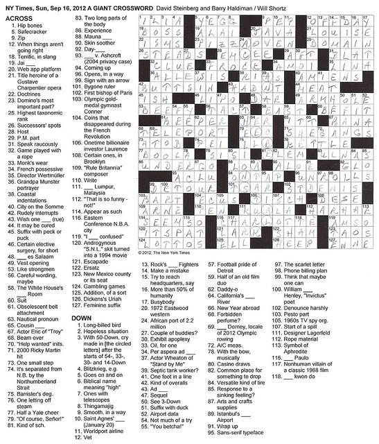 NYT Sunday Puzzle - September 16, 2012