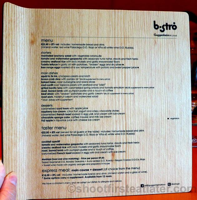 Bistró Guggenheim Bilbao menu