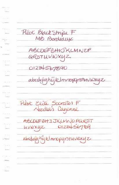 Montblanc Bordeaux and Noodler's Cayenne Ink