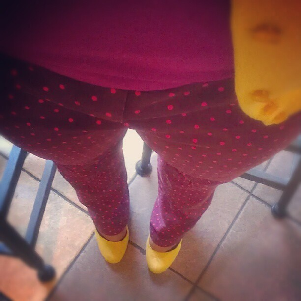 Polka dot pants! HOORAY! #ootd