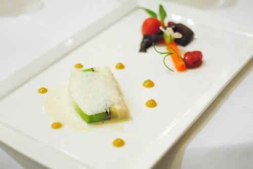 "Pave of Leek & Halibut spiced ""carrot"", truffle ribbon, sea cress, crystal lettuce, raisin purée & smokey leeks (Richard Rosendale, The Greenbrier)"