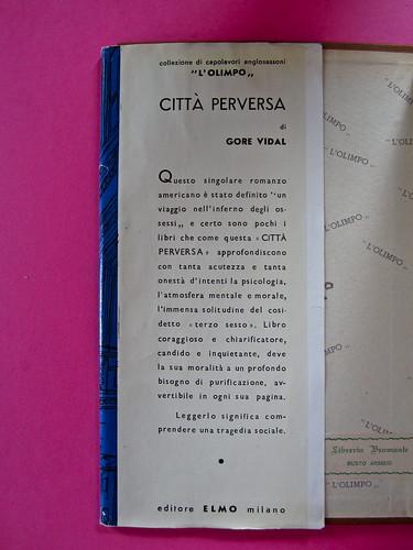Gore Vidal, La città perversa, Elmo editore 1949. (copia 2) Risvolto di prima di sovracoperta (part.), 1