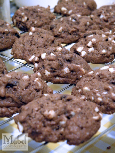 Chunky chocolate chip cookies with almond and cocoa nibs