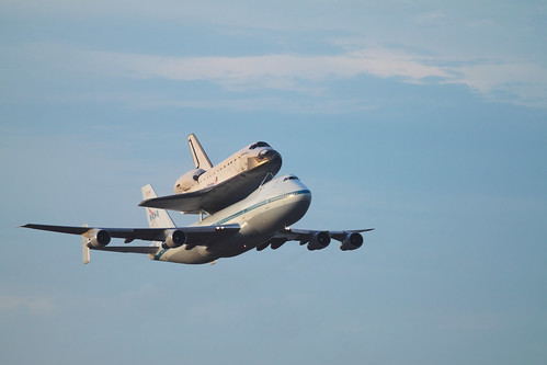 Endeavour on the Shuttle Carrier Aircraft flying by