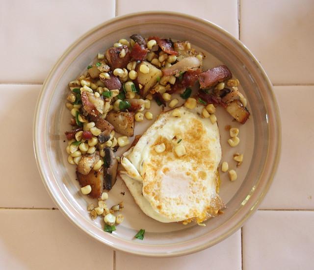 Bacon, Corn, Mushroom Hash