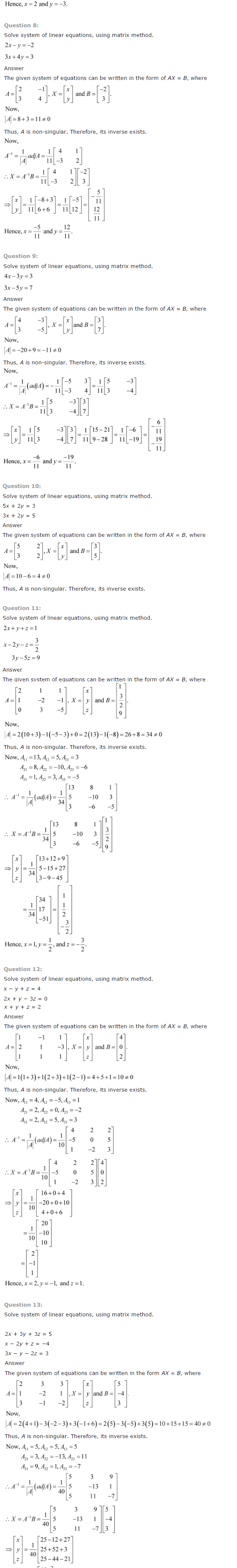 NCERT Solutions for Class 12 Maths Chapter 4 Determinants ex 4.13