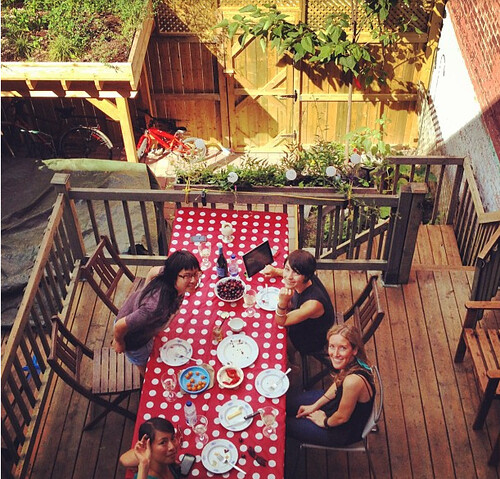 Enjoying our Jean-Talon spoils on our deck
