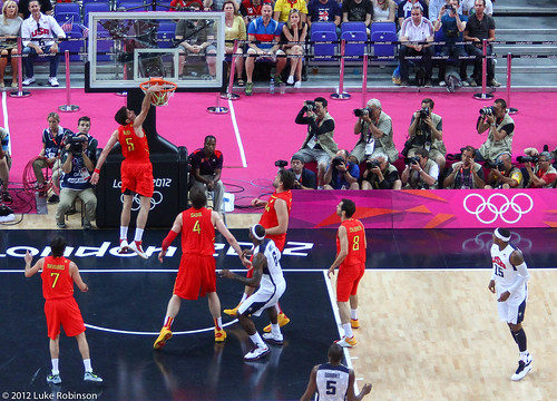 Rudy Fernandez scores for Spain in USA Spain Olympic Basketball Final, August 12th 2012